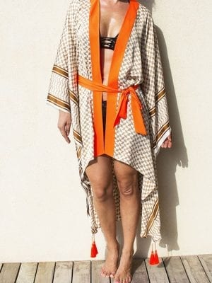 women, kimono, beige and white, feathers accent