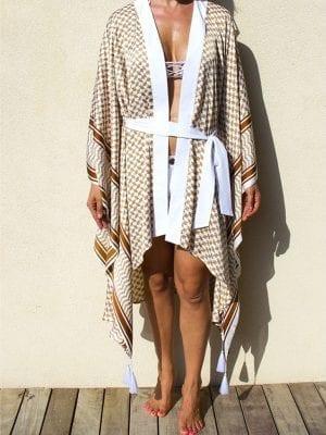 women, kimono, beige, tiger accent